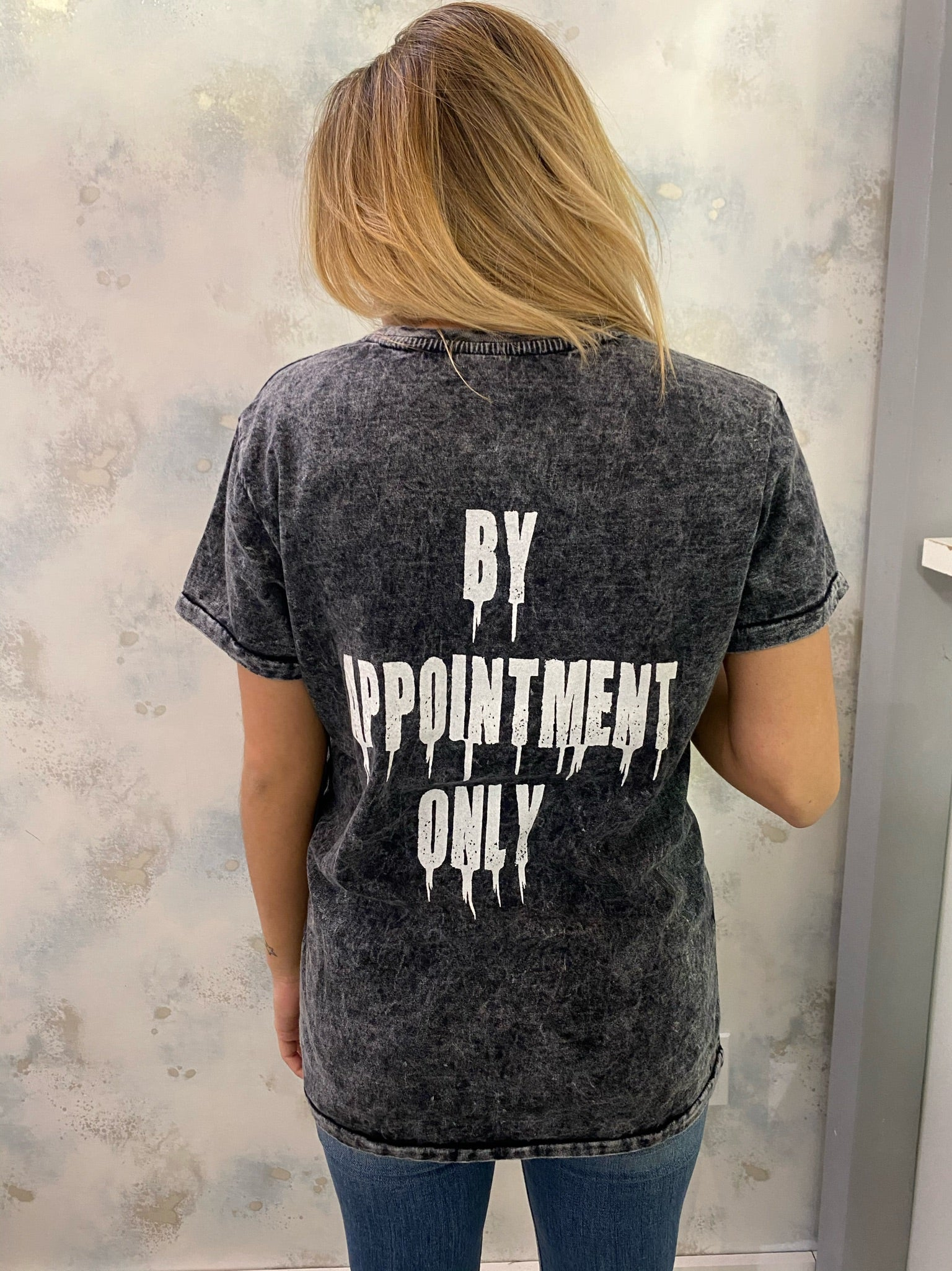 "Ed Hardy - ""By Appointment"" Acid Wash Graphic Tee"