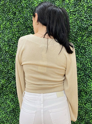 Blouson Sleeve Cropped Sweater