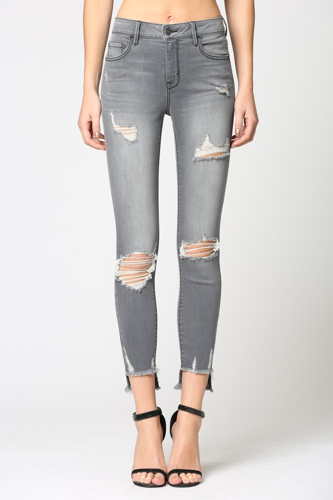 Hidden - Distressed Step Hem Skinny Jeans