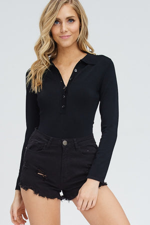 LONG SLEEVE COLLARED BODYSUIT
