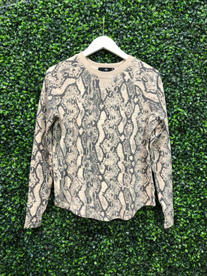 BRUSHED SNAKE PRINT PULLOVER SWEATSHIRT WITH THUMBHOLES
