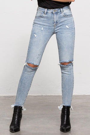 Denim Lounge - Cropped Distressed Skinny Jeans
