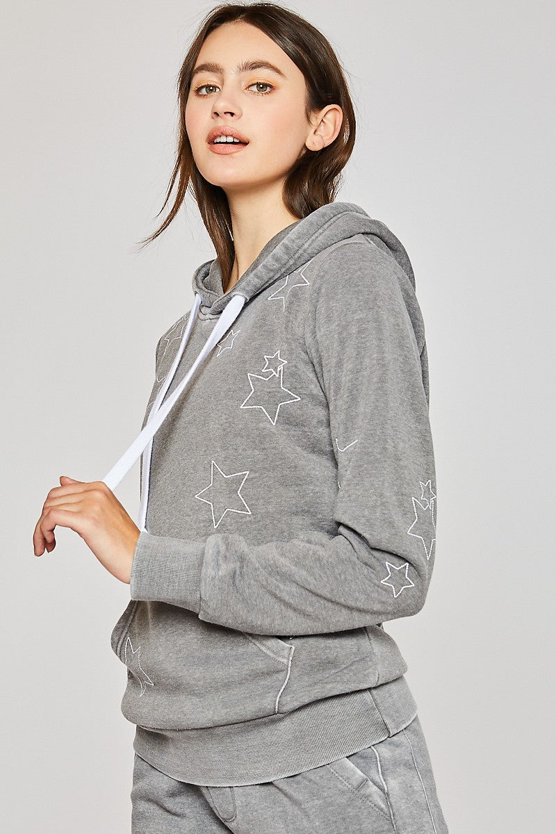 Star Embroidered Burnout Hoodie