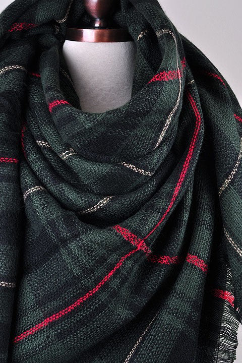 Green Plain Blanket Scarf