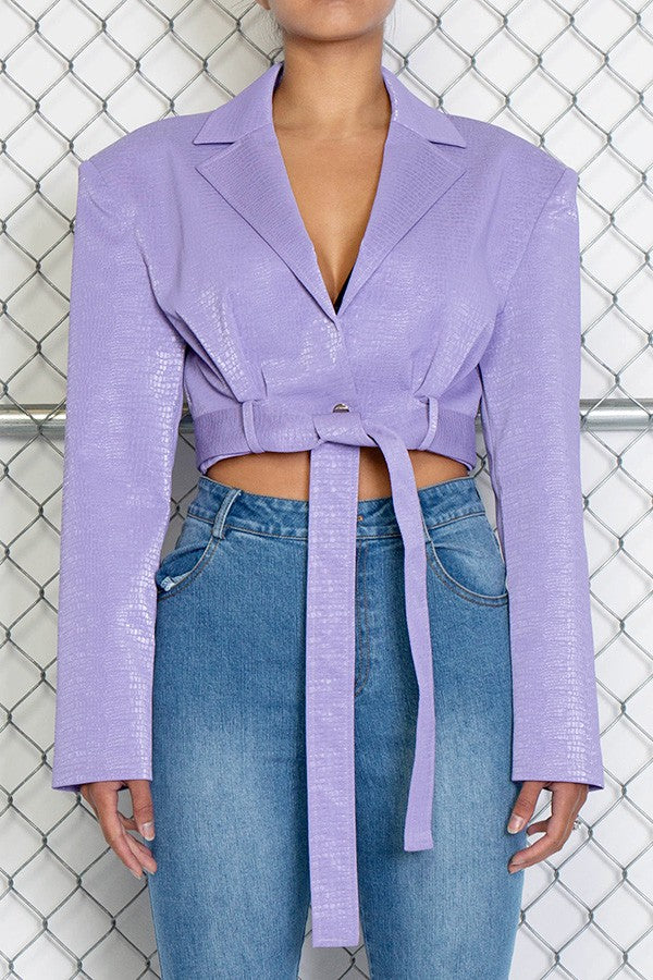 Cropped Shoulder Pad Jacket