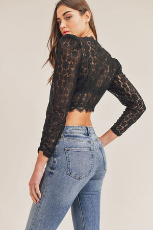 Lace Crop Top w/ Puff Sleeves