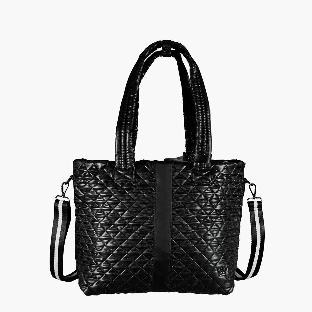 BLACK QUILTED TOTE