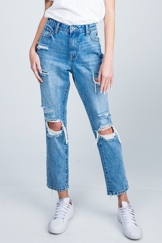 Special A - Distressed Straight Leg Jeans