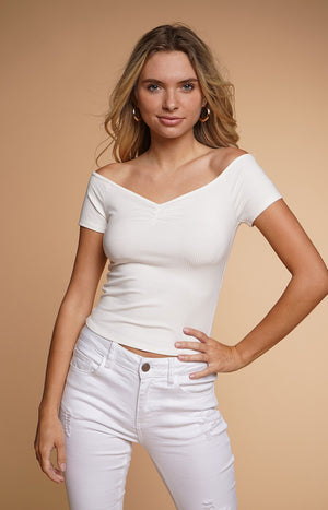 S/S V NECK RUCHED CROP TOP