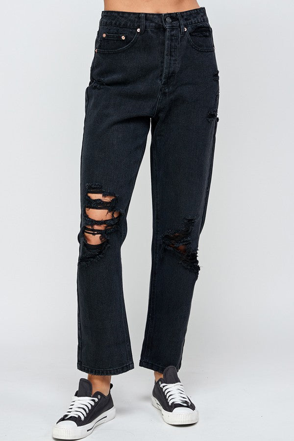 Signature 8 - High Rise Distressed Boyfriend Jeans