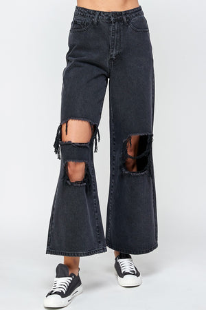 Signature 8 - Wide Leg Distressed Jeans