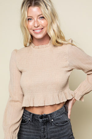 L/S MOCK SMOCKED TOP