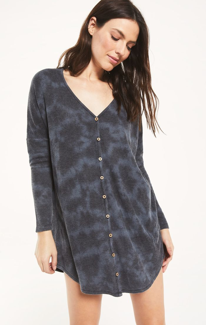 Long Sleeve Thermal Button Down Dress