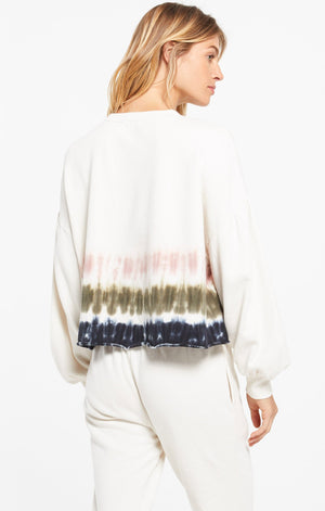 Long Sleeve Stripe Tie Dye Crew Pullover