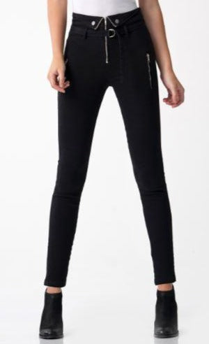Blue Revival - Fold Over High Waisted Skinny Pants