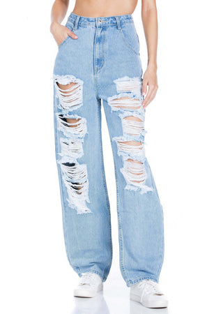 High Rise Distressed Straight Leg Denim