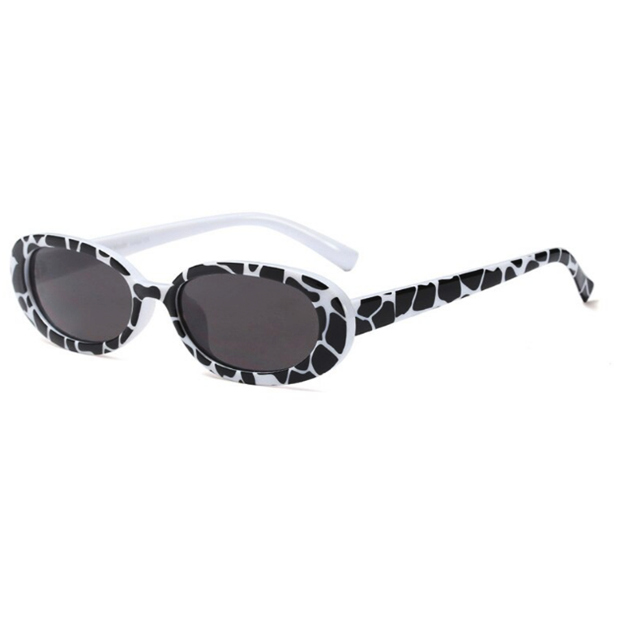 Black/White Printed Oval Sunglasses