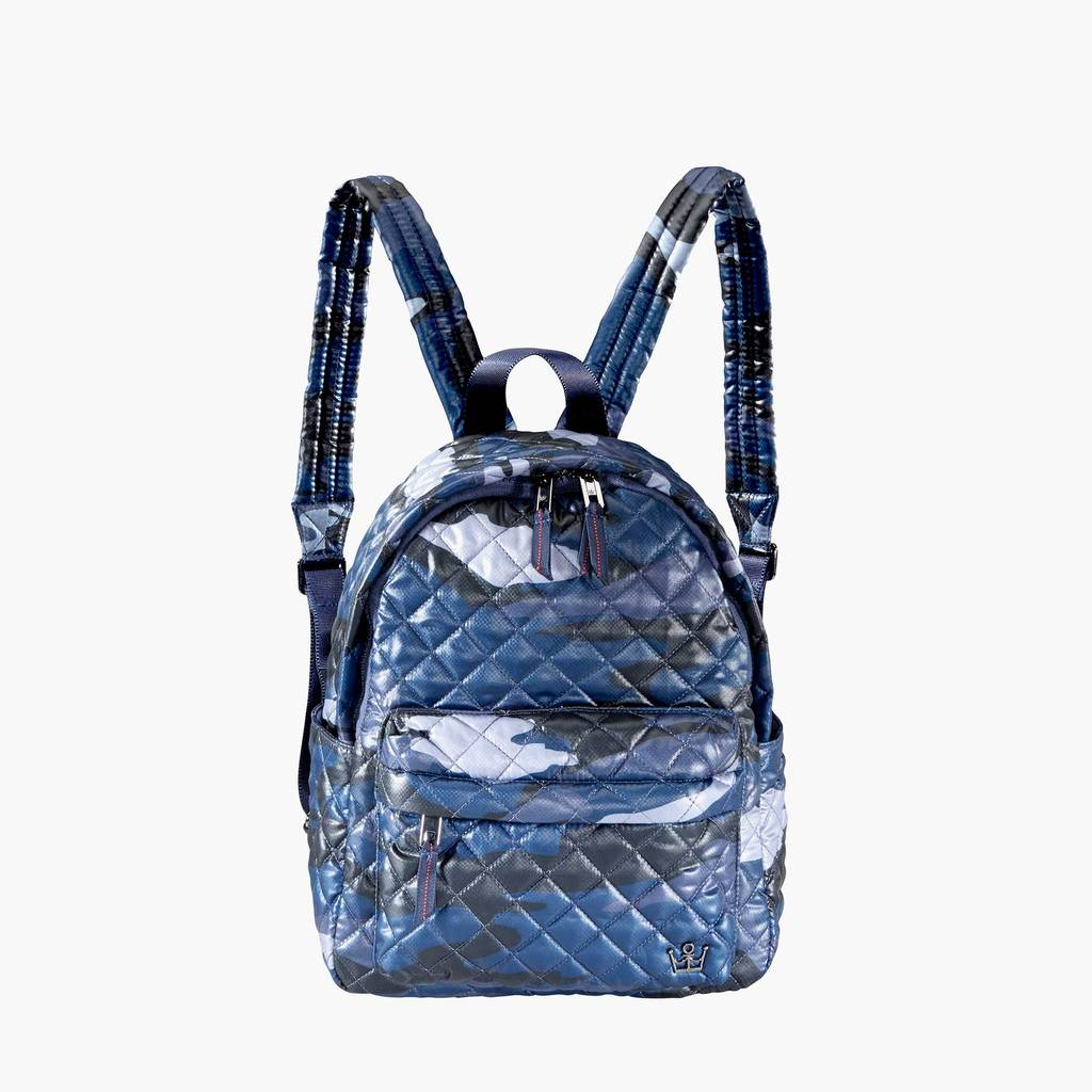 BLUE CAMO QUILTED BACKPACK