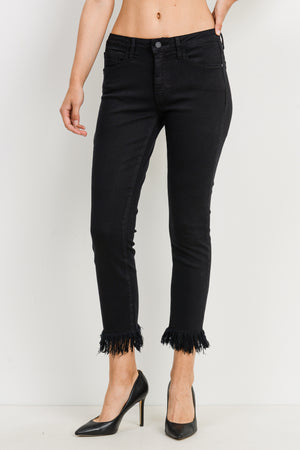 Just Black-Fringe Hem Skinny Jean