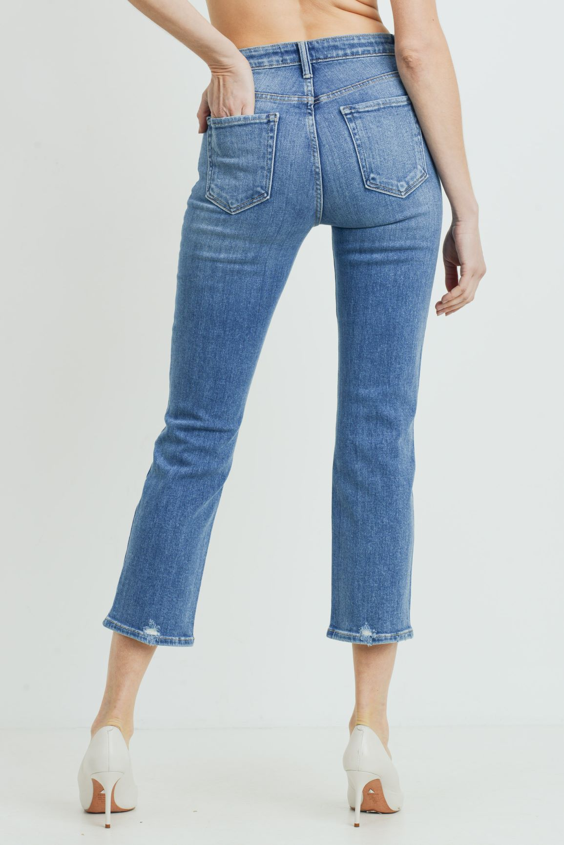 Just Black - Hi-Rise Distressed Straight Leg Jeans