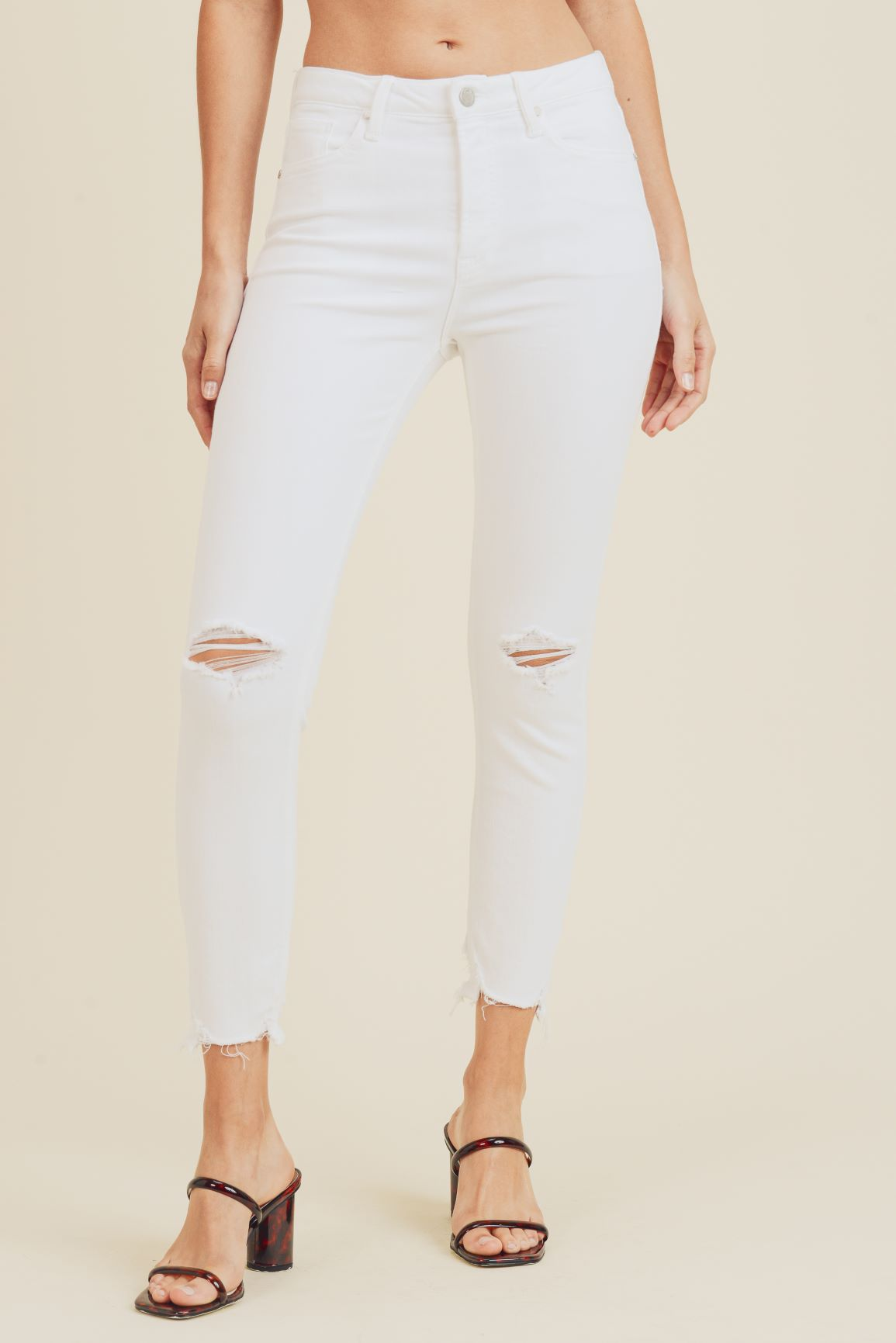 Just Black - High Rise Destroyed White Skinny Jeans