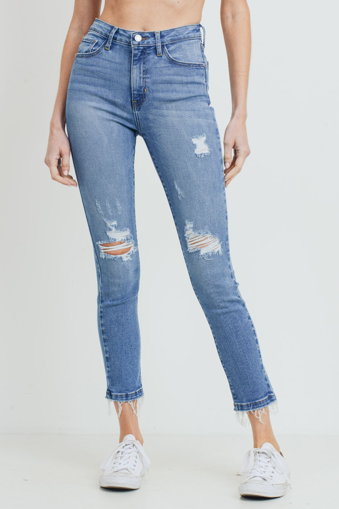 Just Black - High Rise Destructed Skinny Jeans