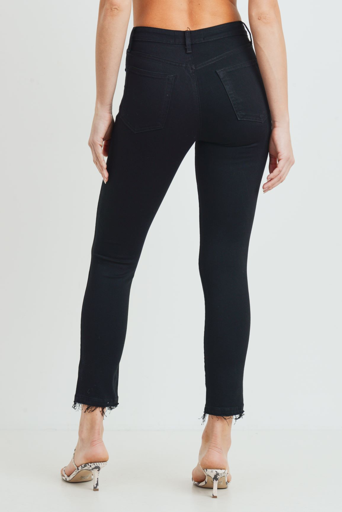 Just Black - High Rise Distressed Skinny Jeans