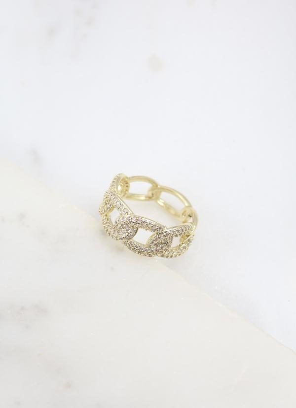 Gold Pave Chain Ring