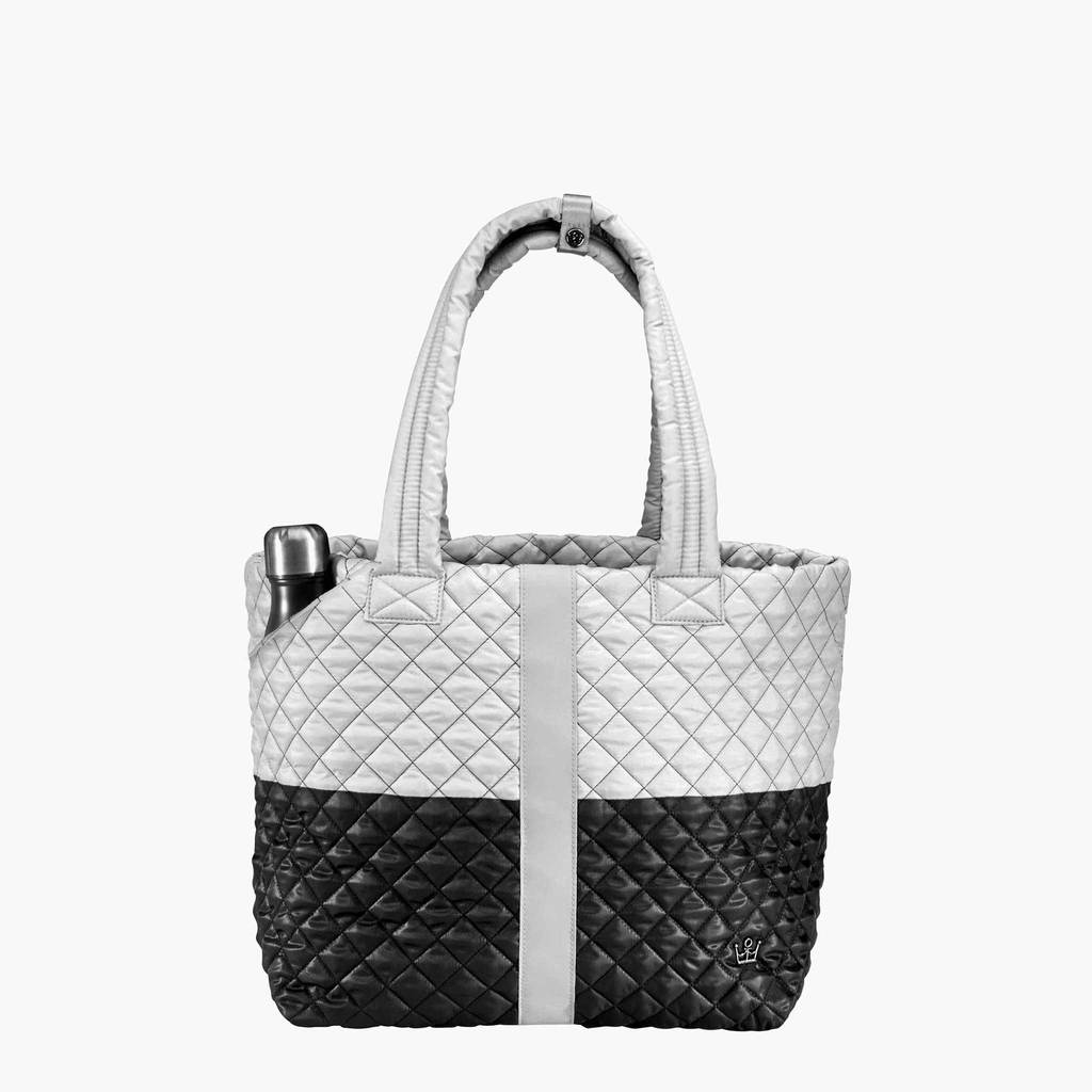 Quilted Tote Bag - Black/White
