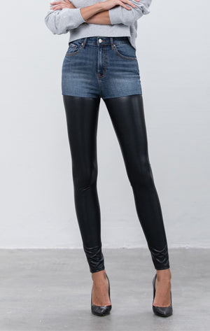 Leather/ Denim Skinny Pant