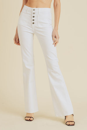 Just Black - White Button Front Flare Jeans