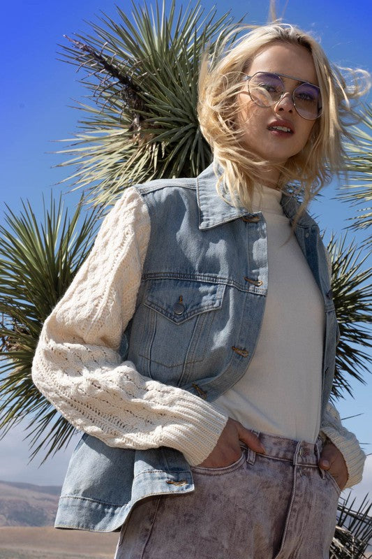 Denim Jacket w/ Cable Knit Sleeves