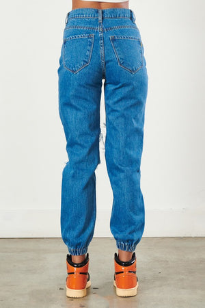 Vibrant - High Rise Distressed Boyfriend Jeans