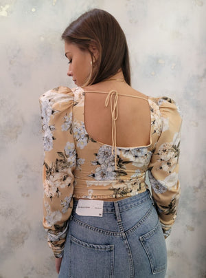 Floral Puff Sleeve Crop Top