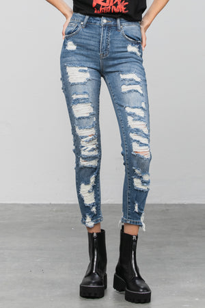 Denim Lounge - High Rise Distressed Jeans