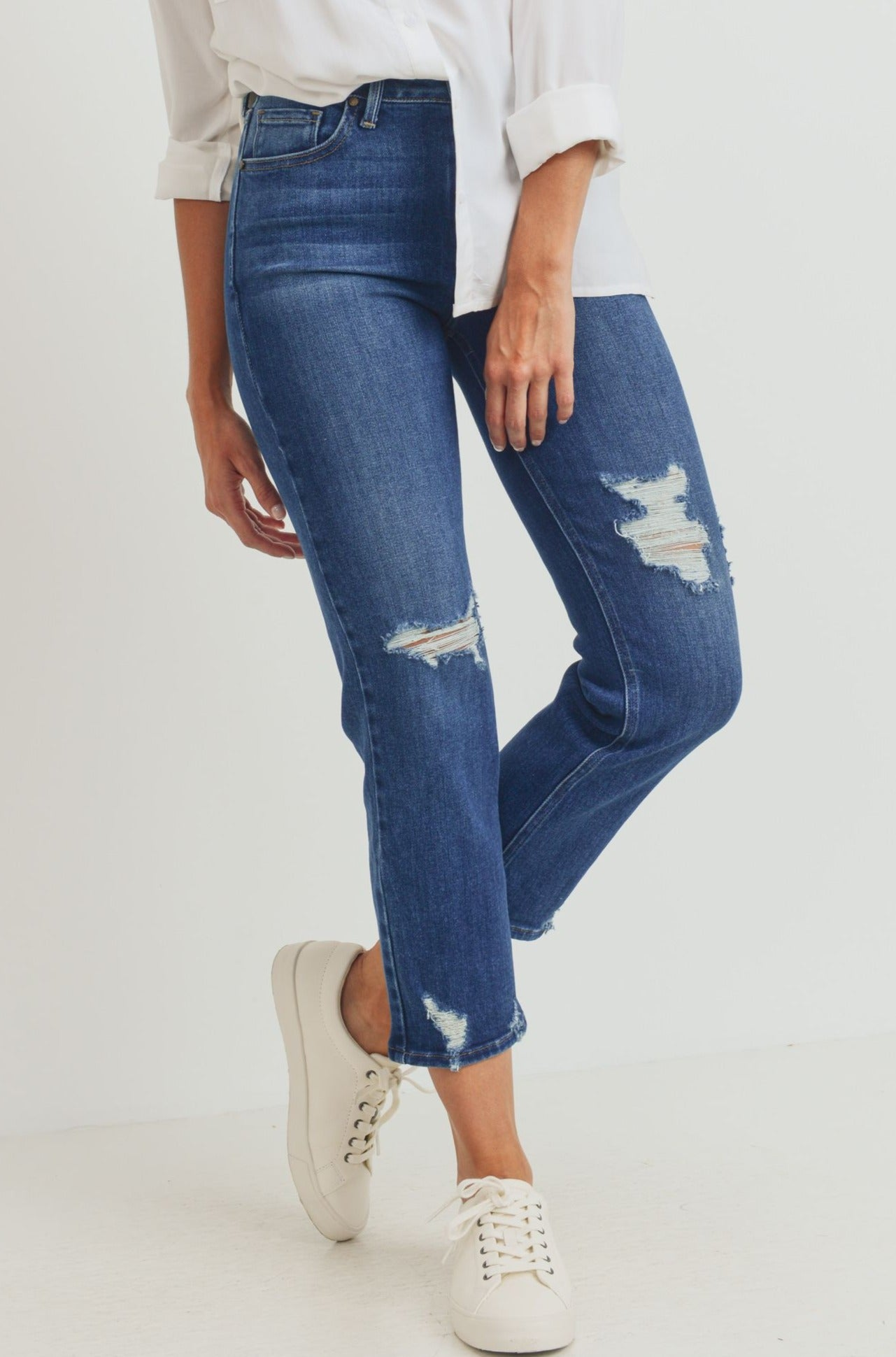 Just Black - Hi Rise Straight Leg Jeans