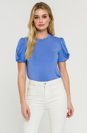 Short Sleeve Twist Sleeve Top