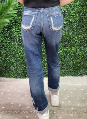Kan Can - Distressed High Rise Girlfriend Jeans