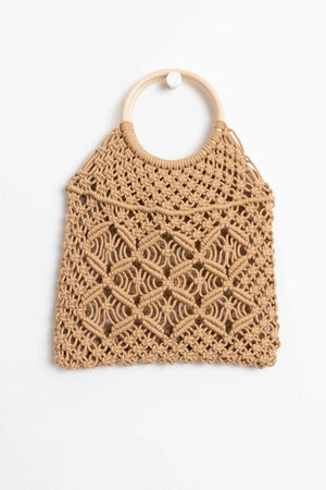 Crochet Bag w/ Wooden Handle
