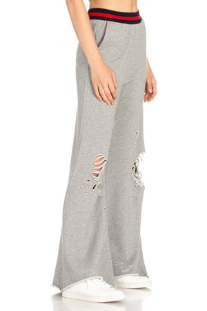 Wide Leg Distressed Sweatpant