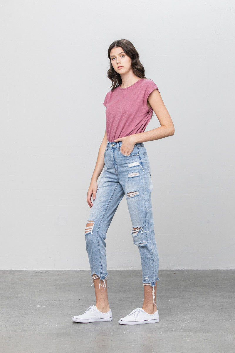 Denim Lounge - Distressed Girlfriend Jeans