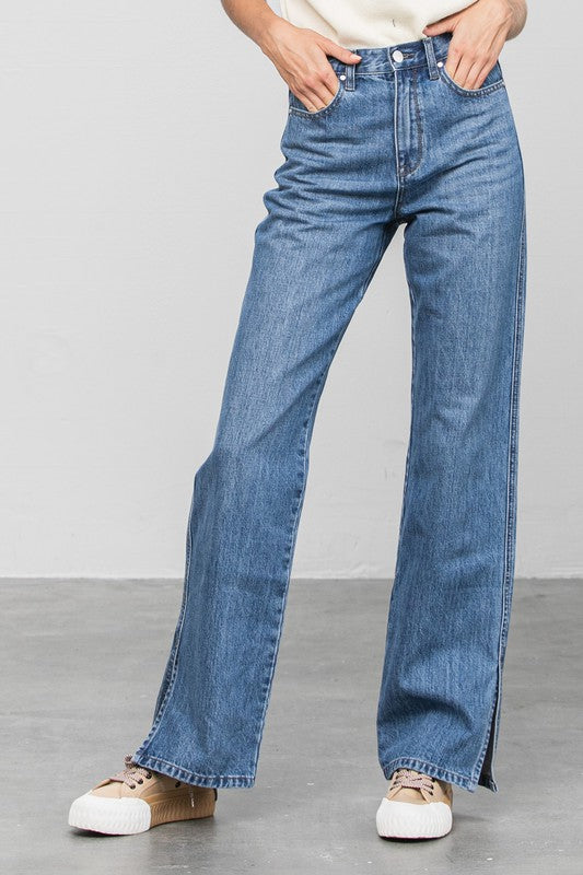 Denim Lounge - Hi Rise Straight Leg Slit Jeans