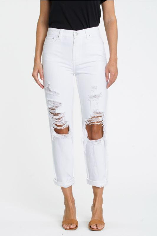 Pistola - Presley Distressed Rolled Boyfriend Jean