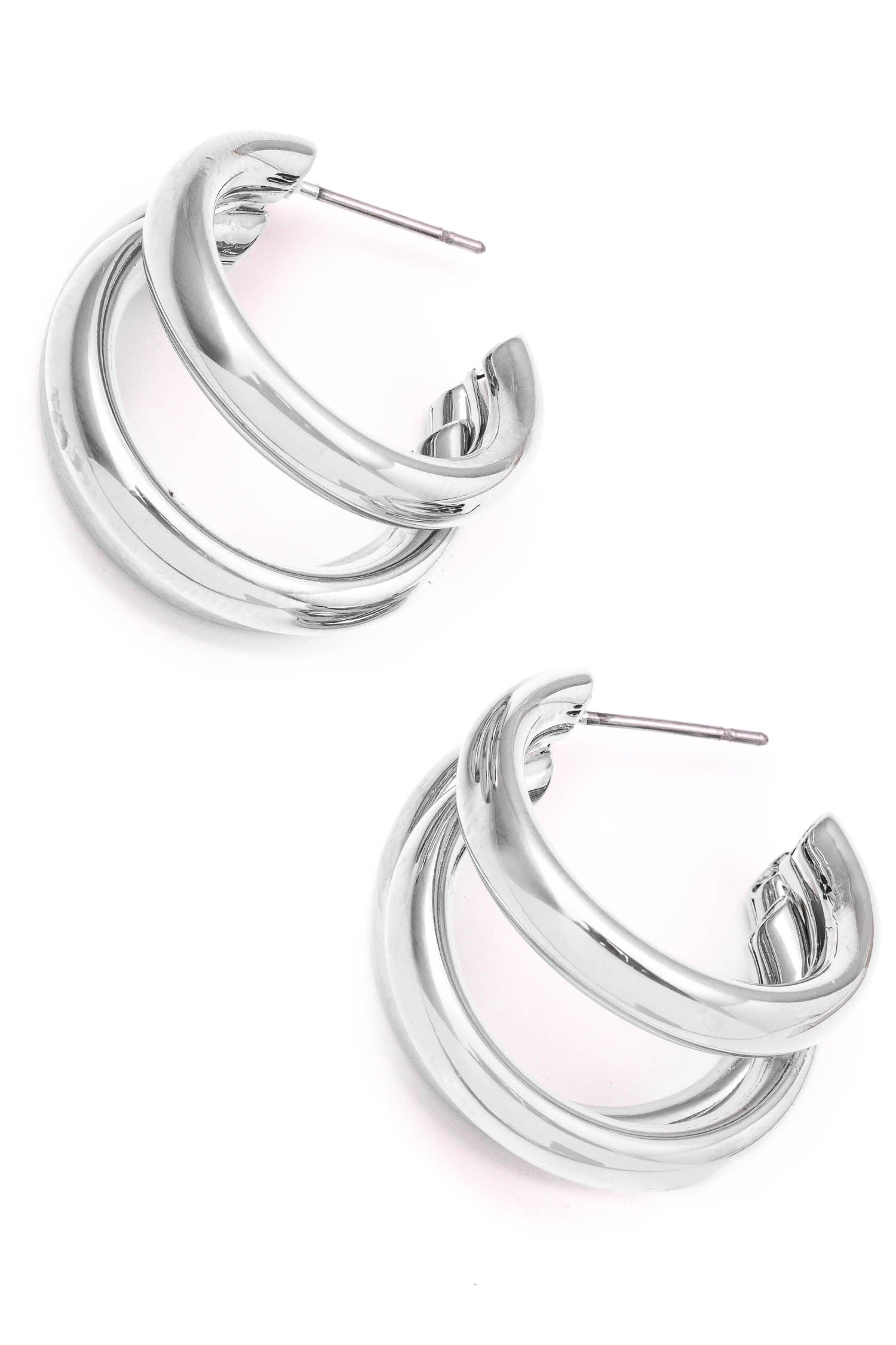 Silver Layered Hoops