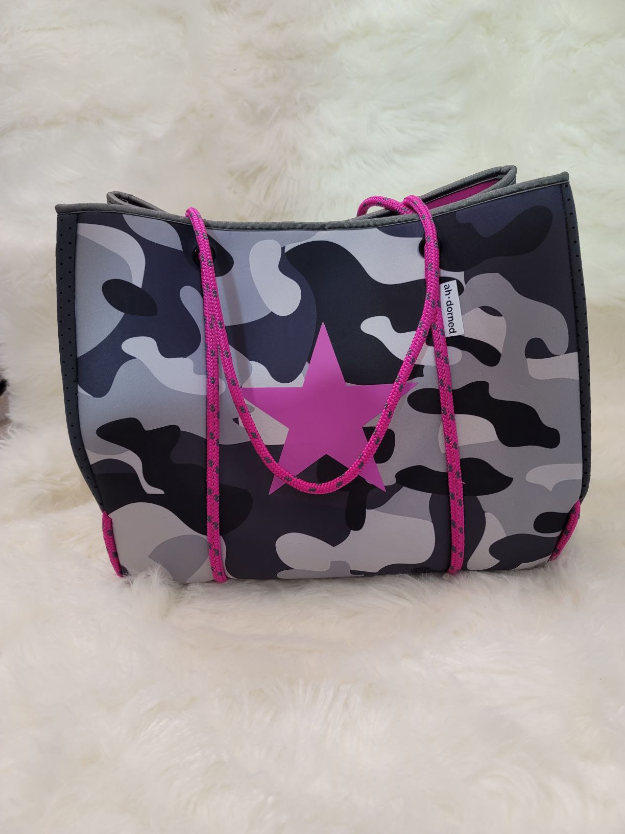 Camo Neoprene Tote With Star