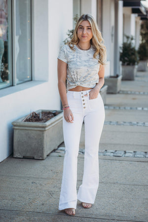 Just Black-White Button Flare Jean