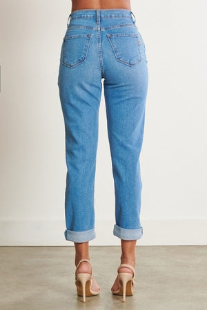 Vibrant - Distressed Mom Jeans