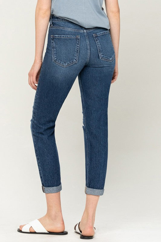 Flying Monkey - Rolled Up Distressed Mom Jean