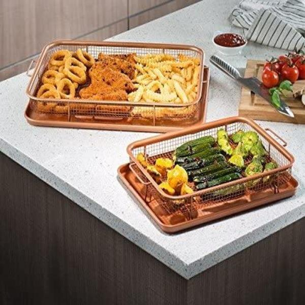 Nonstick Copper Crisper Tray - AIR FRY IN YOUR OVEN!