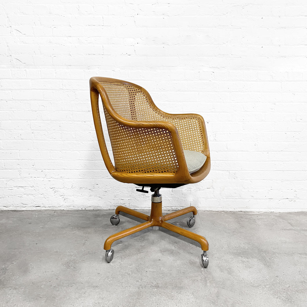 Ward Bennett Caned Swivel Chair for Brickel Circa 1960's